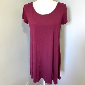 🌻Socialite Maroon Wine Spring Swing Tee Dress | L
